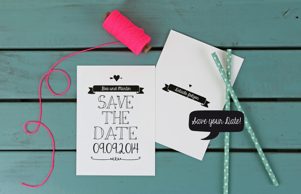 Save the Date Karte aus der Serie Black & White im Handlettering Design.