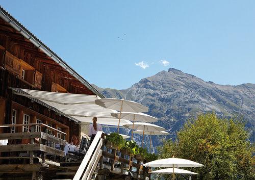 Beispiel: Terrasse, Foto: Maiensässhotel Guarda Val.