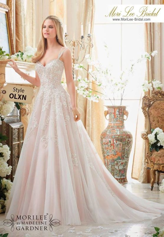 Wedding Dress OLXN  Elaborately Beaded Embroidery on Soft Tulle Ball Gown  Colors Available: White/Silver, Ivory/Silver, Ivory/Blush/Silve
