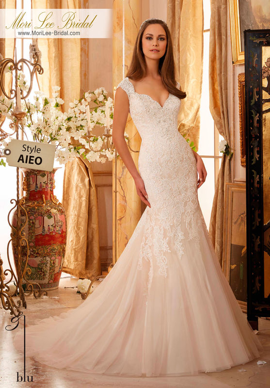 Dress Style AIEO  CRYSTAL BEADED, ALENCON LACE APPLIQUES ON SOFT NET  Colors Available: White, Ivory, Ivory/Champagne