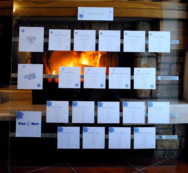 Tableau: pannello in plexiglass 1x1mt  personalizzato con nastri di doppio raso argento e cartoncini perlati a tema fiocco di neve, in linea con tutto il resto, per matrimonio invernale