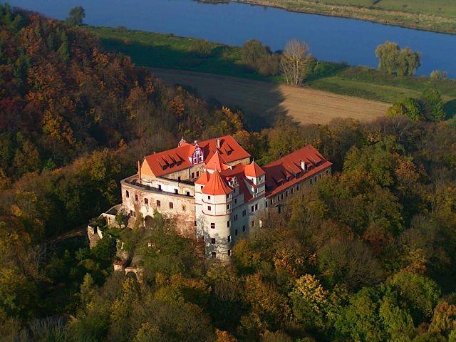 Beispiel: Schloss von oben, Foto: Schloss Scharfenberg.