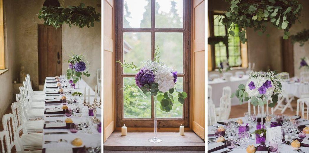 Mariage C&F | Couronnes de fleurs suspendus au-dessus des tables