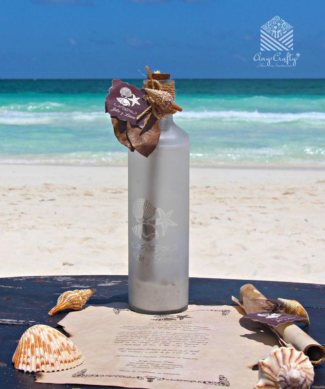 Invitación botella grabada al Sand blast