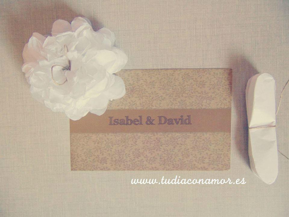 Invitaciones de boda tela vintage