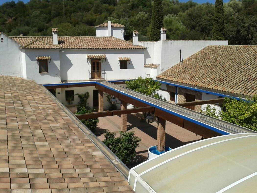 Vista del techo telecóspico del Patio de los Naranjos