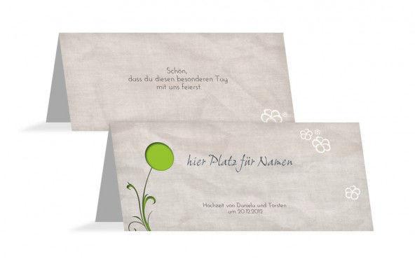 Beispiel: Platzkärtchen, Foto: Hochzeitskarten- Paradies.
