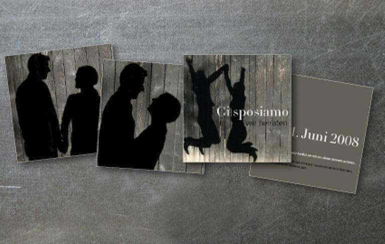 Beispiel: Hochzeitskarten Schattenbilder, Foto: tellme.