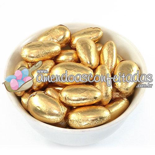 Amêndoas Confeitadas Douradas Deluxe - Muito utilizadas em Bodas de Ouro.