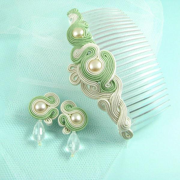 Małgorzata Sowa - PiLLow Design, Biżuteria ślubna sutasz. Komplet ślubny - grzebyk do włosów i sztyfty, perły, sutasz, srebro