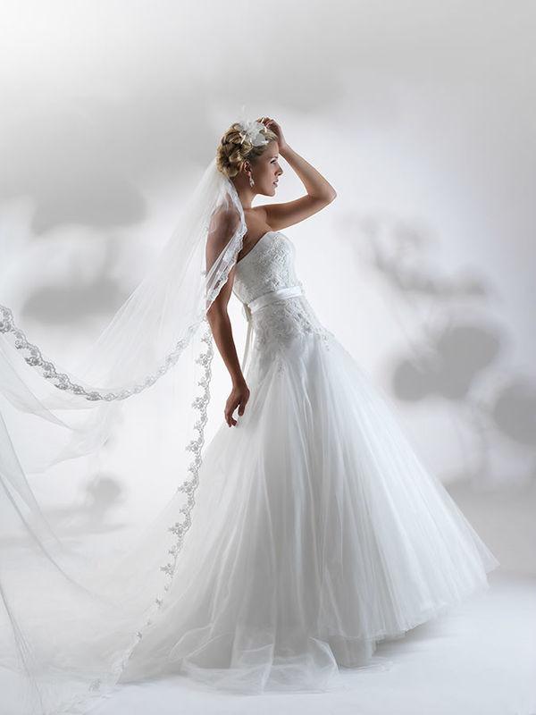 Beispiel: Brautkleid mit passendem Schleier, Foto: Steinecker.