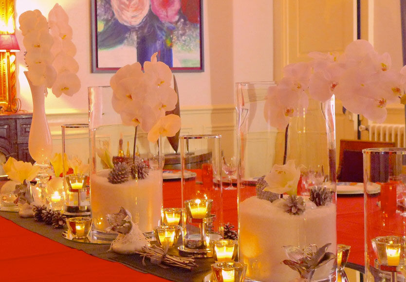 Good Moon - Diner privé Soir de Noël - Rouge et orchidées