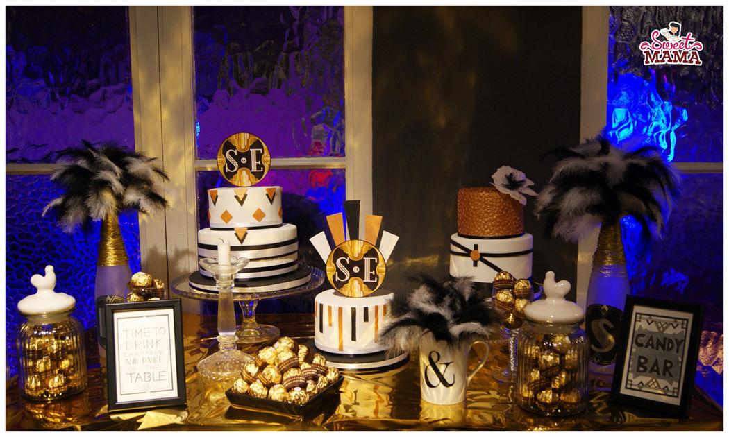 Mesa dulce al más puro estilo Gatsby.