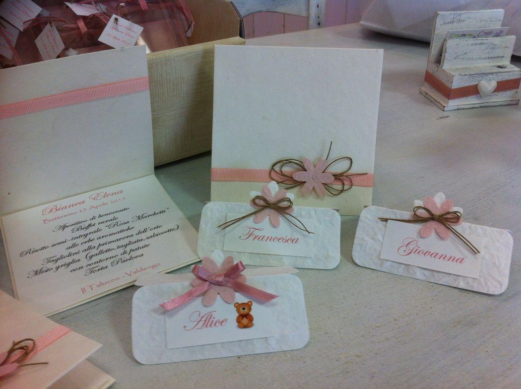 Set invito, menù, segnaposto rosa per matrimonio