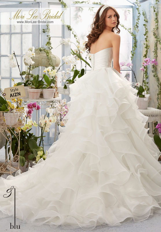 """Dress Style AIZN Asymmetrical Draping And Flounced, Organza Ball Gown  Removable Satin Belt with Beaded Brooch. Available in Three Lengths: 55"""", 58"""", 61"""". Colors available: White, Ivory, Ivory/Blush."""