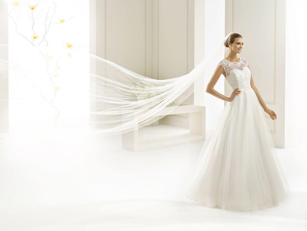 Brautkleid aus Spitze und Tüll, Soft Tüll Schleier | Bianco Evento