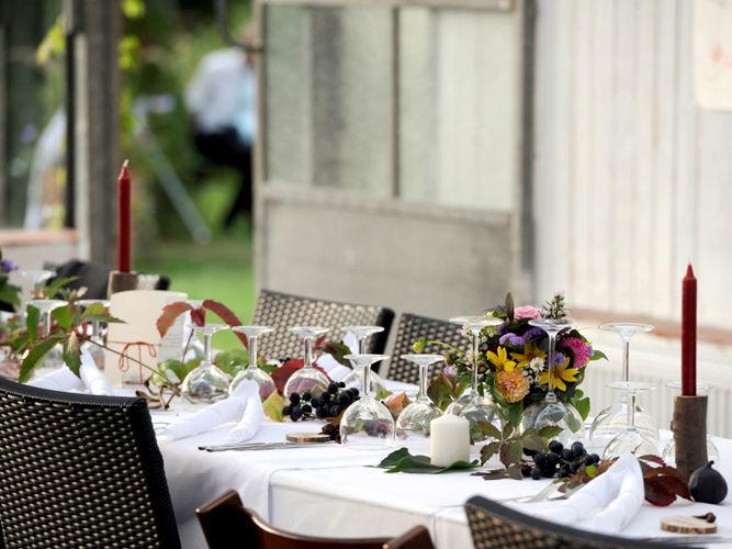 Beispiel: Tischdekoration, Foto: Hesperidengarten.