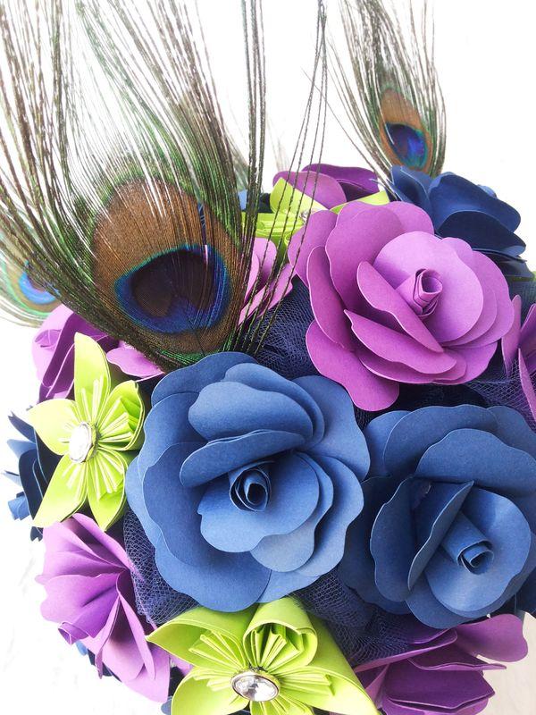 Ramo de novia Magiccon plumas de pavo real (a petición de la novia)