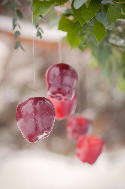 зимняя свадьба, сервировка стола, красный, флористика, яблоки