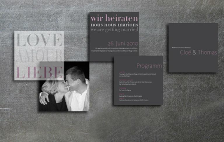 Beispiel: Dreisprachige Hochzeitskarten, Foto: tellme.