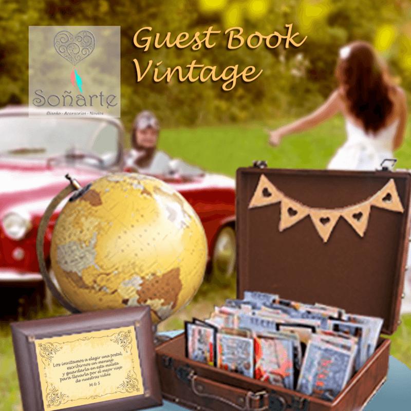 Guest Book Vintage · Arriendo de decoración para escribir tarjetas de saludos a los recién casados