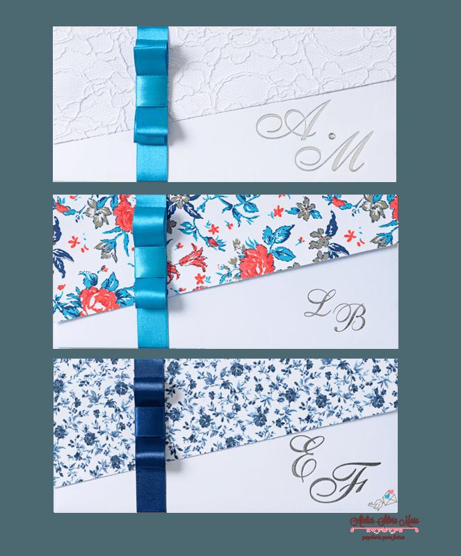 Convite Transversal  aplicação de tecido ou Renda - Ref. CS.0144