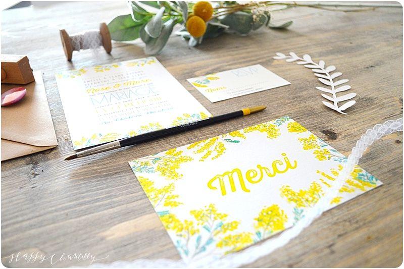 Faire-part mariage Mimosa Entièrement peint à l'aquarelle Happy Chantilly