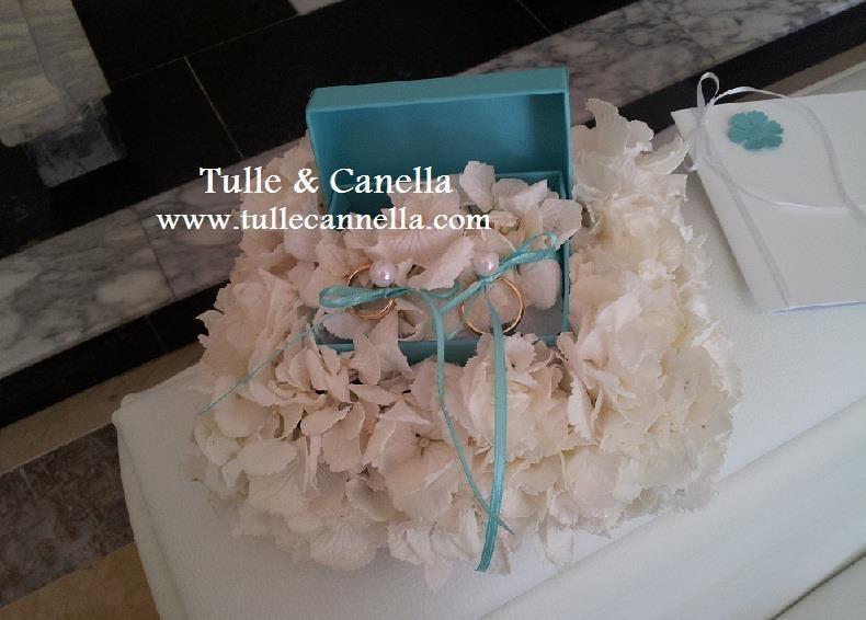 Cuscino Porta Fedi - Dettagli -  Matrimonio - Tiffany - Chiesa - Promesse - Ortensie - Flower design