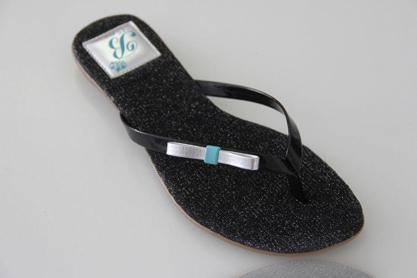 Slim Fashion Lurex Preto com Laço Chanel e detalhes Azul Tifany
