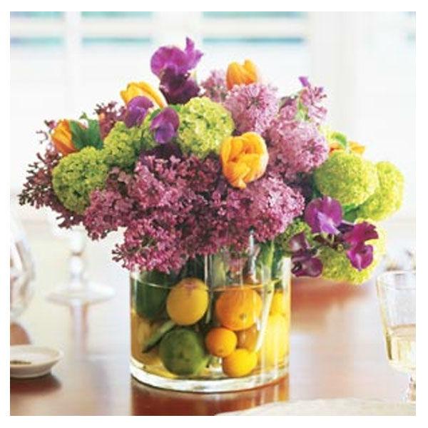 Composizioni fiori-verdure-frutta