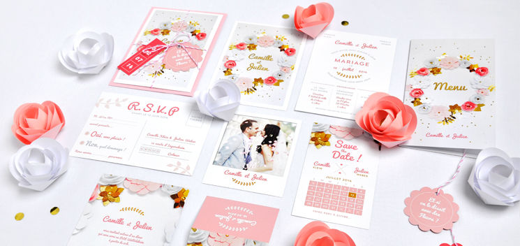 Invitation de mariage Haute Couture (collection disponible chez Print Your Love)