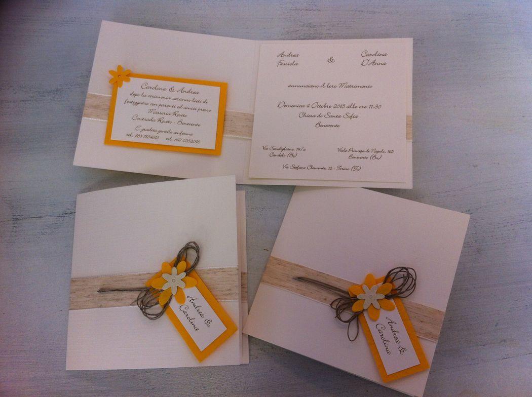 Partecipazione invito nozze rustico con corda e fiorellini