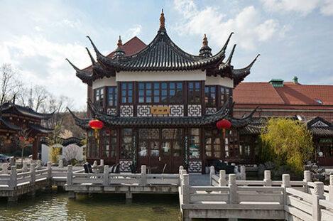 Beispiel: Außenansicht - Teichanlage, Foto: Chinesisches Teehaus Yu Garden.