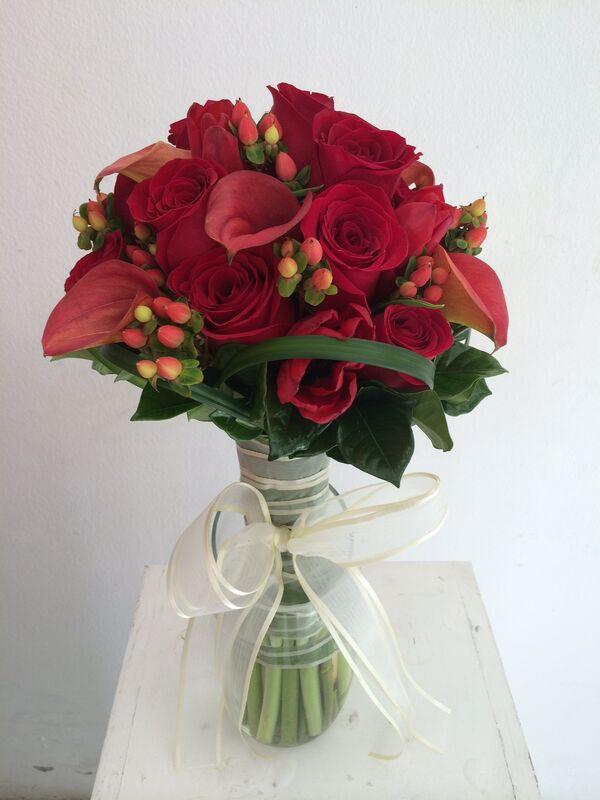 bouquet todo rojo