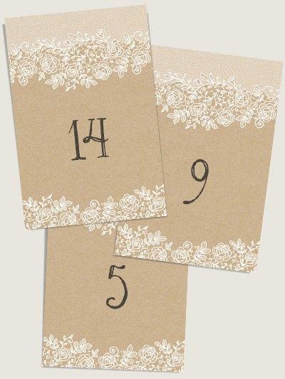 Numéros de table mariage Dentelle et kraft par Dioton.fr