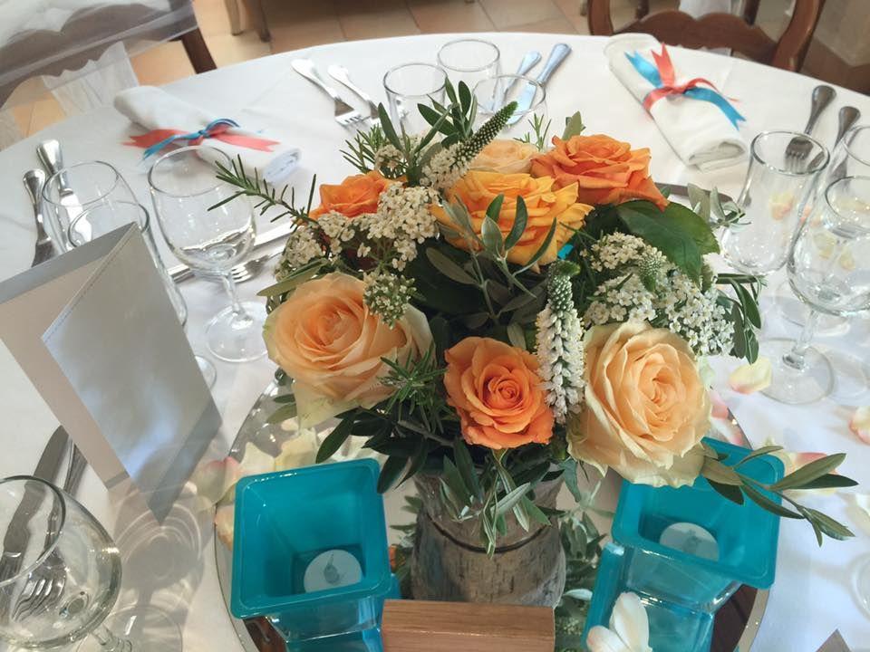 L'atelier de Sellyn, Centres de table mariage turquoise et corail