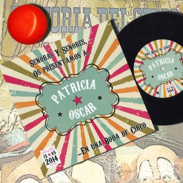 Invitaciones de Boda con disco de vinilo
