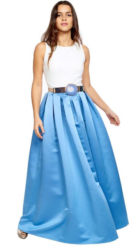 Precioso vestido largo bicolor con espalda cruzada en azul metalizado disponible para su alquiler en varias tallas y colores: http://www.dresseos.com/alquiler-vestidos-para-fiesta-boda-o-evento-formal/vestidos-largos/vestido-largo-top-blanco-falda-midi-azul
