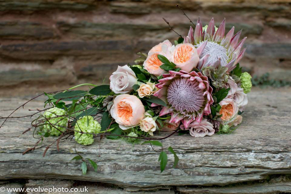 protea trailing bridal bouquet
