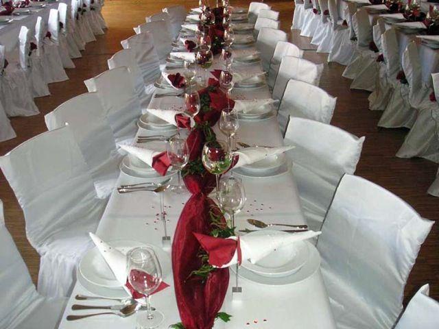 Beispiel: Hochzeitsdekoration, Foto: Hochzeitsvermietung - Stuhlhussen Deutschland.