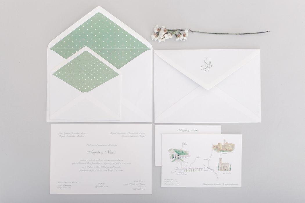 Invitaciones sobre plumeti verde