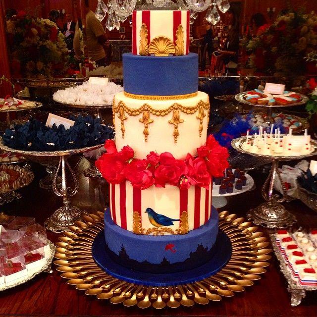 Confiserie de Lu - Bolo de casamento temático - Mary Poppins - no estilo inglês pintado à mão e flores em açúcar