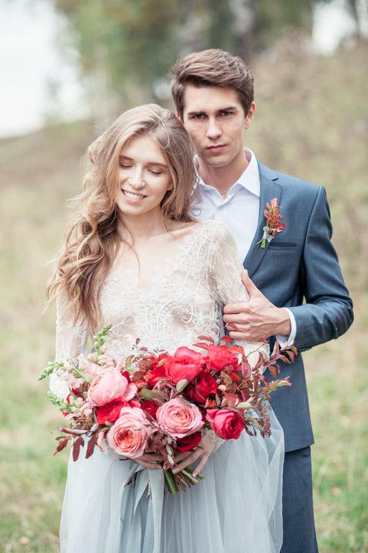 Фото свадебной прогулки Игоря и Марии. Свадьба в оттенках осенней палитры