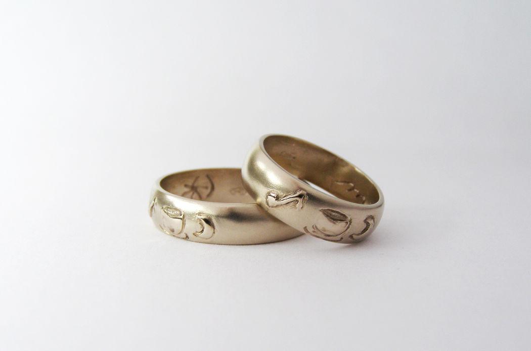 MIOeTUO - anelli in oro bianco non rodiato con superficie sabbiata e particolari lucidi
