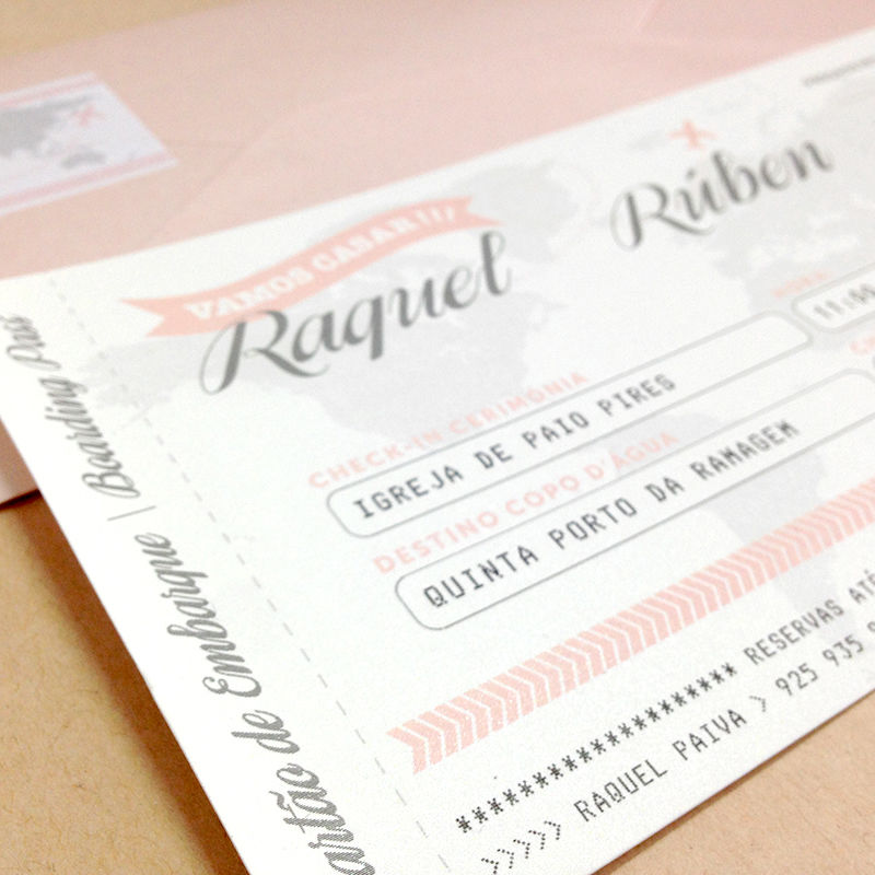 Convite Boarding pass Raquel e Rúben