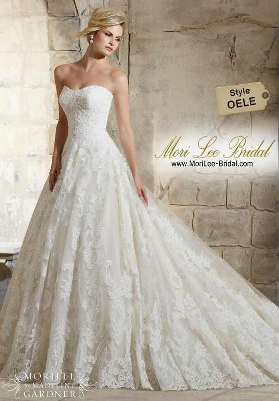 Dress Style OELE Delicate Beading Onto The Patterned Alencon Lace On The Tulle Ball Gown With Wide Hemline Border  The epitome of elegance, this Alencon lace ballgown is perfect for a classic romantic bridal look. Available in Three Lengths: 55