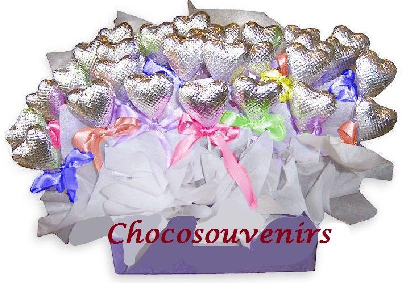 Paletas corazones para souvenirs  con exquisitos rellenos