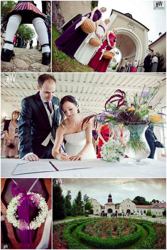 Polsko - angielska ceremonia zaślubin w plenerze na terenie zespołu pałacowego
