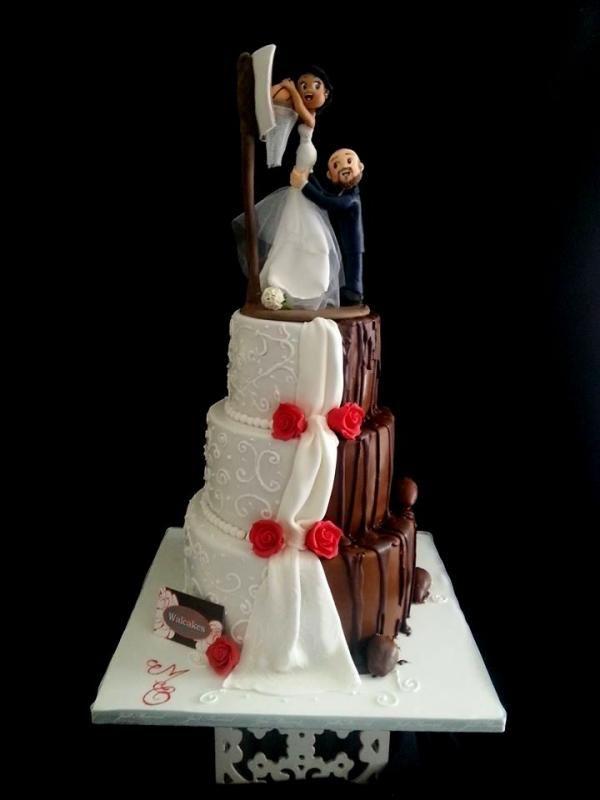 Wedding cake multicolore, mariage de Meg et Olivier