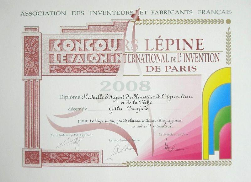 Diplôme de la Médaille d'Argent du Ministère de l'Agriculture et de la Pêche au CONCOURS LEPINE International à Paris